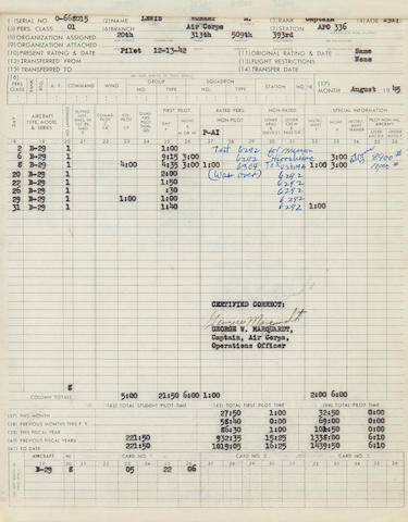 Official Flight Log and 201 File of Captain Robert A. Lewis, co-pilot of the Enola Gay 11.5 x 9.5 in 3