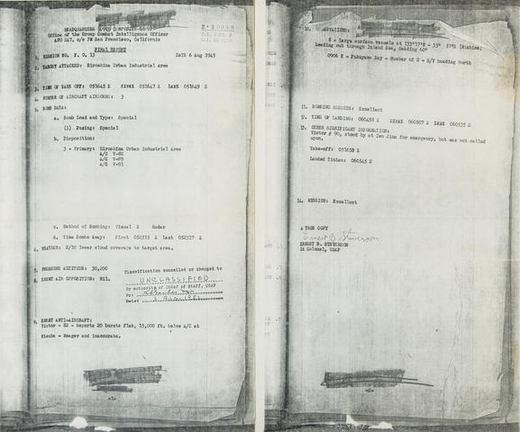 Copy of the Final Report of Mission FO 13, 6 Aug 1945, Filed by the Office of the Group Combat Intelligence Officer, signed off by Colonel Ernest Stevenson USAF; A photocopy taken after declassification on 3 Aug 1951 14 x 8 1/2 in (36 x 22 cm) 2