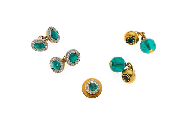 A collection of gent's emerald and diamond accessories