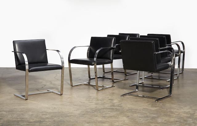 Ludwig Mies van der Rohe Set of eight Brno chairsdesigned 1929, these examples manufactured by Knoll International before 1975, stainless steel, leather upholsteryheight 31in (78.5cm); width 22 3/4in (58cm); depth 20in (51cm)