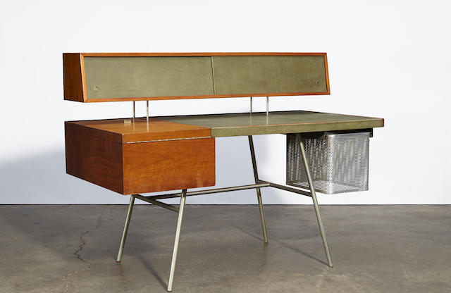 George Nelson and Associates Home Deskmodel 4658, designed 1946, for Herman Millerwood, steel tube, leatherheight 40 3/4in (103.5cm); width 54in (137.5cm); depth 28in (71cm)