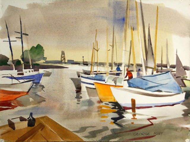 George Booth Post (American, 1906-1997) Yacht harbor, Redwood City 18 x 24in