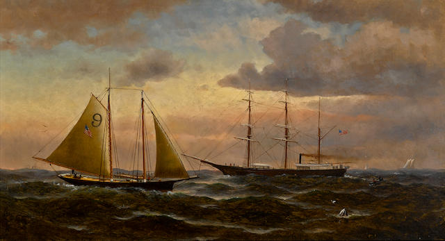 William Alexander Coulter (1849-1936) Pilot boat and bark 20 x 36in overall: 31 x 46 3/4in (Painted in 1881)