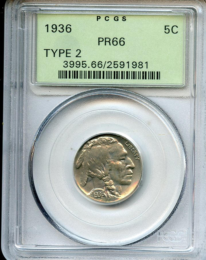1936 5C Type Two (Brilliant Finish) Proof 66 PCGS