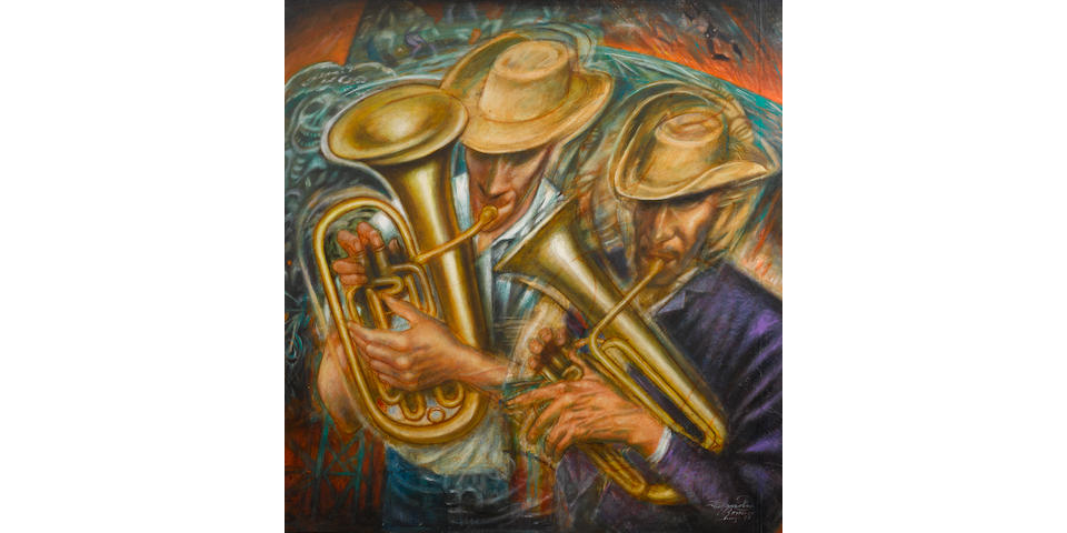 Alejandro Romero (Mexican, born 1948) Músicos ambulantes (Street Musicians), 1979 34 1/8 x 31 5/8in.
