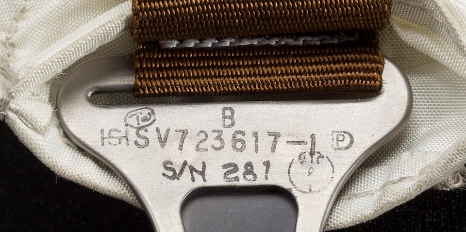 SOILED WITH LUNAR DUST—BEAN'S PORTABLE LIFE SUPPORT SYSTEM STRAP USED ON TWO MOONWALKS
