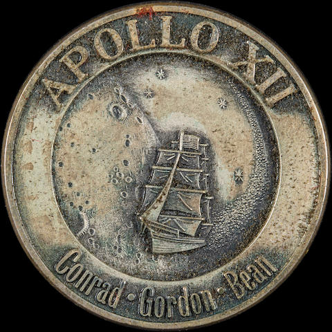 ALAN BEAN'S FLOWN APOLLO 12 ROBBINS MEDALLION CARRIED IN THE COMMAND MODULE
