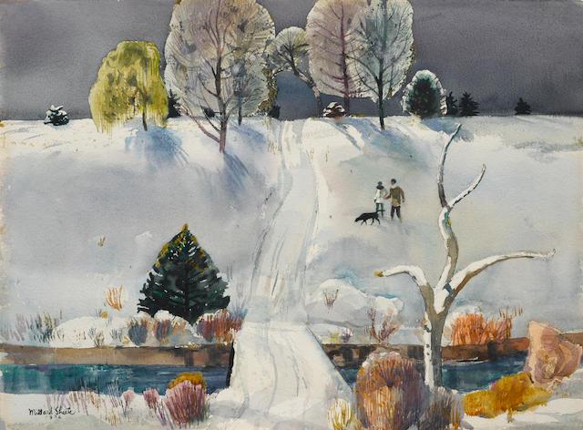 Millard Sheets (American, 1907-1989) Winter in Iowa 22 x 30in