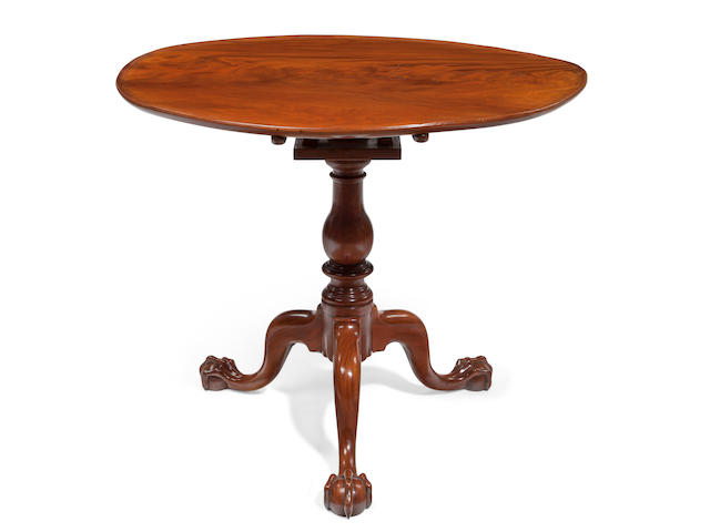 A Chippendale mahogany dished-top birdcage tilt-top tea table Possibly Norfolk, Virginia, late 18th century
