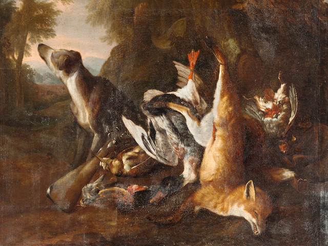 Peter Caulitz (Berlin circa 1650-1719) Cocks, chickens and turkeys with pigeons flying above a yard before a mansion; A hound watching a dead red fox, a dead mallard, a gray partridge, a woodcock and a bullfinch at the foot of a tree at the edge of a wood (a pair) 63 1/2 x 58 3/4in (161.3 x 149.2cm)