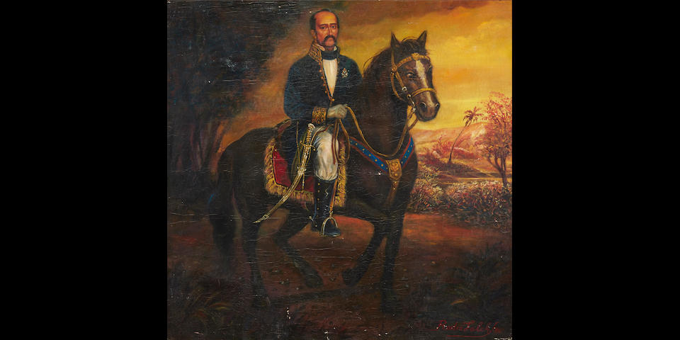 Spanish Colonial School, 20th Century A portrait of a Mexican nobleman on horseback 47 1/2 x 47 1/2in (120.5 x 120.5cm)