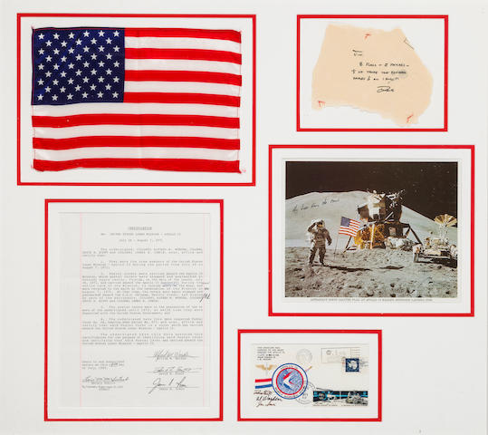 UNAUTHORIZED POSTAL ENVELOPE AND LARGE US FLAG CARRIED TO THE LUNAR SURFACE ON APOLLO 15