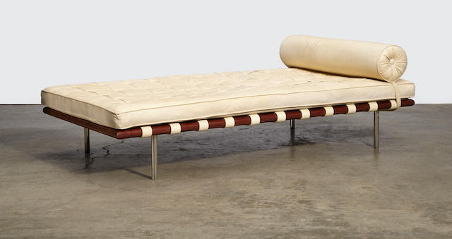 Ludwig Mies van der Rohe Barcelona Daybeddesigned 1929, this example executed before 1972 for Knoll Associatesrosewood, leather, chrome-plated steelheight 16in (40.5cm); width 78in (198cm); depth 40in (103cm)