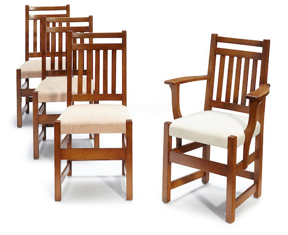 Four Limbert upholstered oak dining chairs models 1715 and 1791