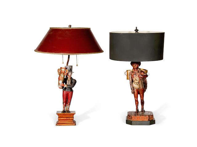 Two Continental market figures later fitted as table lamps 19th century