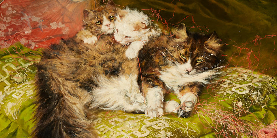 Arthur Wardle, RI (British, 1864-1949) The green pillow 18 x 24in (45.8 x 61cm)