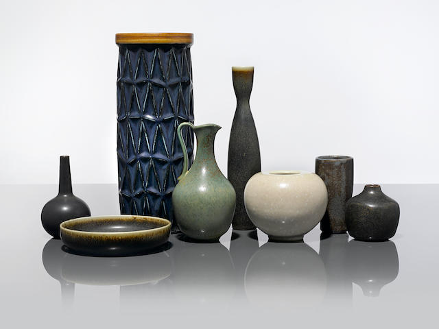 Scandinavia Eight vesselsdesigned circa 1955-60comprising three Carl Harry-Stalhane for Rorstrand vessels, one Gunnar Nylund pitcher for Rorstrand, and four Saxbo vessels, stoneware, incised manufacturer's marks to eachheights 3in (7.5cm) to 12in (30.5cm)