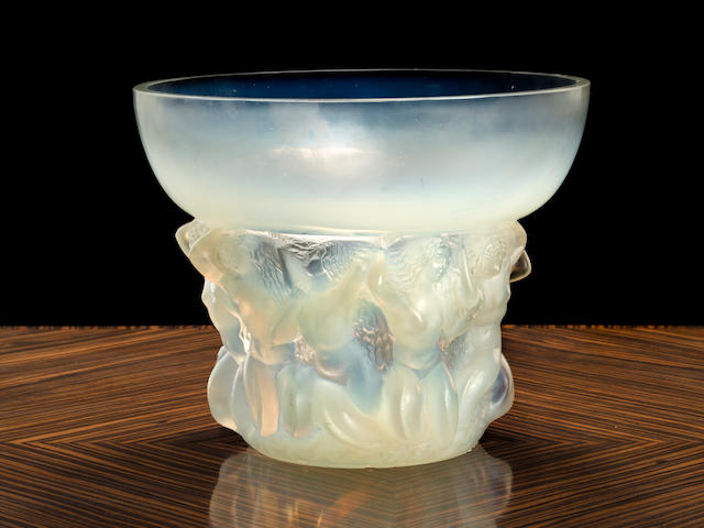 A rare RenÉ Lalique opalescent glass vase: Naiades Marcilhac 1028, model introduced 1930