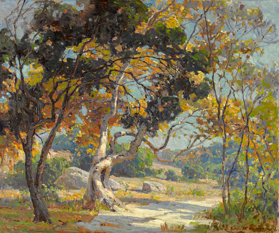 Jack Wilkinson Smith (American, 1873-1949) Sunshine through the oaks 27 x 32in overall: 31 1/2 x 36 1/2in