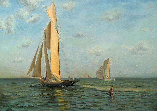 Charles Rollo Peters (American, 1862-1928) Sailing yacht Lurline 26 x 36in overall: 31 1/2 x 42 1/4in