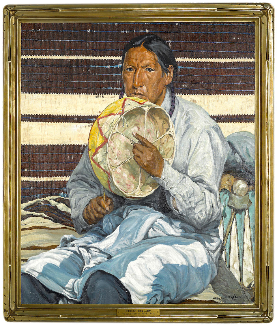 Walter Ufer (American, 1876-1936) Indian Entertainer 30 x 25in (overall: 33 x 28 1/2in)