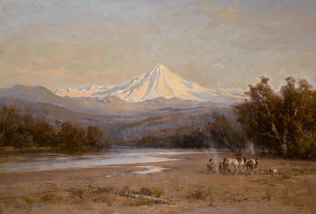 Thomas Hill (American, 1829-1908) Indians with Mount Shasta in the distance 36 x 53in overall: 43 x 60in (Painted in 1893)
