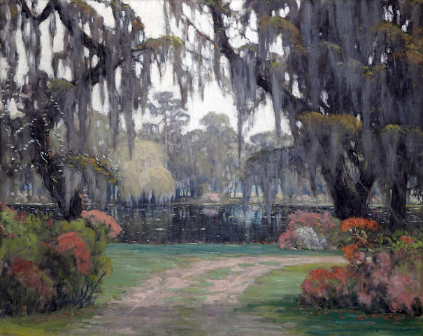William Posey Silva (American, 1859-1948) Springtime in Runnymede, South Carolina  40 x 50in overall: 47 x 57in