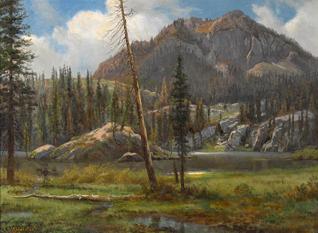 Albert Bierstadt (American, 1830-1902) Southern Sierra Nevada Mountains 14 1/4 x 19in overall: 23 1/2 x 28 1/2in