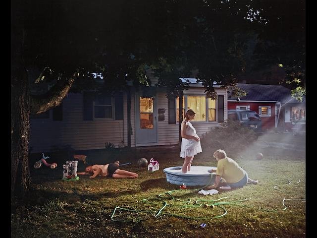 Gregory Crewdson (born 1962); Untitled (Pregnant Woman/Pool), 1999, from Twilight Series;