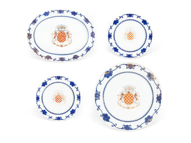 A Chinese Export armorial porcelain part table service for a Noble French or Dutch family circa 1755