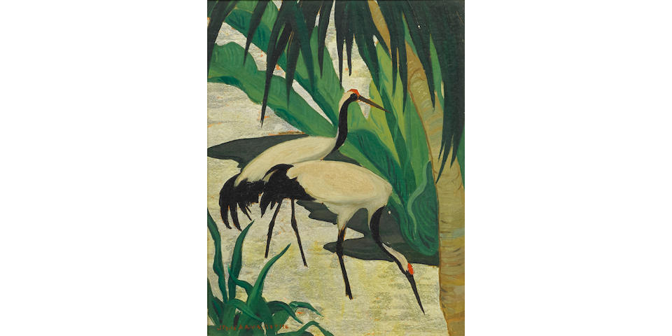 Jessie Arms Botke (American, 1883-1971) Cranes 6 3/4 x 5 1/4in