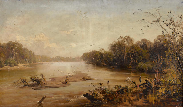 Thomas Hill (American, 1829-1908) River landscape 21 1/4 x 36in overall: 22 1/2 x 37 1/2in (Painted in 1878)