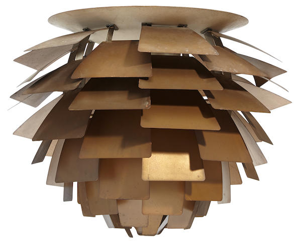 Poul Henningsen Artichoke lampdesigned 1957, this example manufactured circa 1968, for Louis Poulsencopper, enameled aluminum, chrome plated steelheight 23in (58.5cm); diameter 27in (68.5cm)
