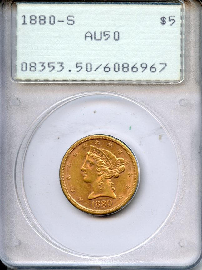 1880-S $5 AU50 PCGS