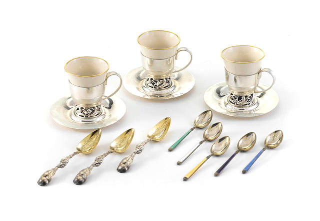 An assembled group of American sterling silver  breakfast or dessert wares by various makers  late 19th-20th century