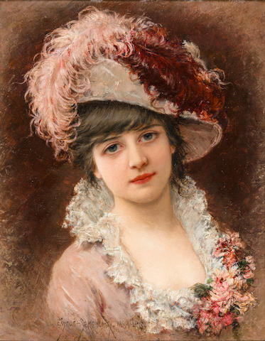 Eisman Semenowsky (Polish/French, 1857-1911) A Parisian beauty 12 1/2 x 10 1/8in (31.7 x 25.8cm)