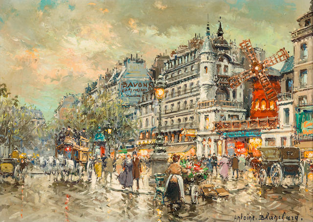 Antoine Blanchard (French, 1910-1988) Le Moulin Rouge a Montmartre en 1900 13 1/4 x 18 1/4in (33.5 x 46.3cm)