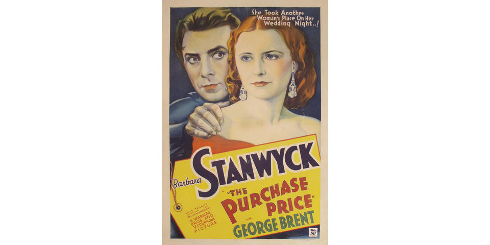 The Purchase Price. Warner Bros., 1932. One sheet poster.