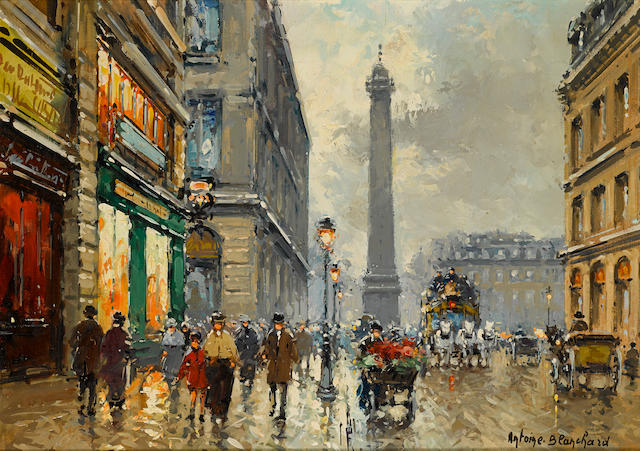 Antoine Blanchard (French, 1910-1988) La Place Vendôme 13 x 18in (33 x 45.7cm)