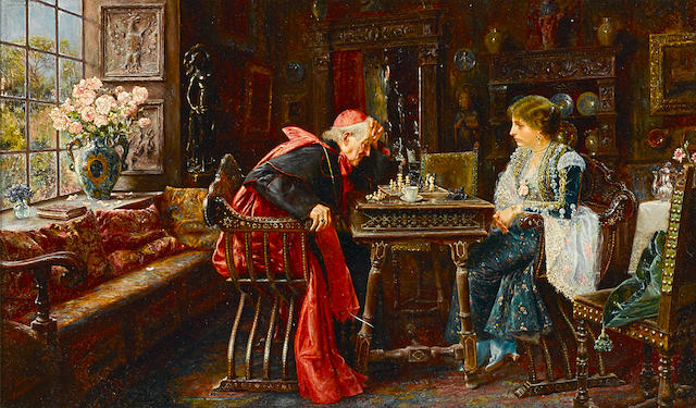 José Gallegos y Arnosa (Spanish, 1859-1917) The next move 11 3/4 x 19 3/4in (29.8 x 50.1cm)