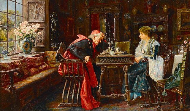 José Gallegos y Arnosa (Spanish, 1859-1917) The next move 11 3/4 x 19 3/4in (29.8 x 50.1cm)