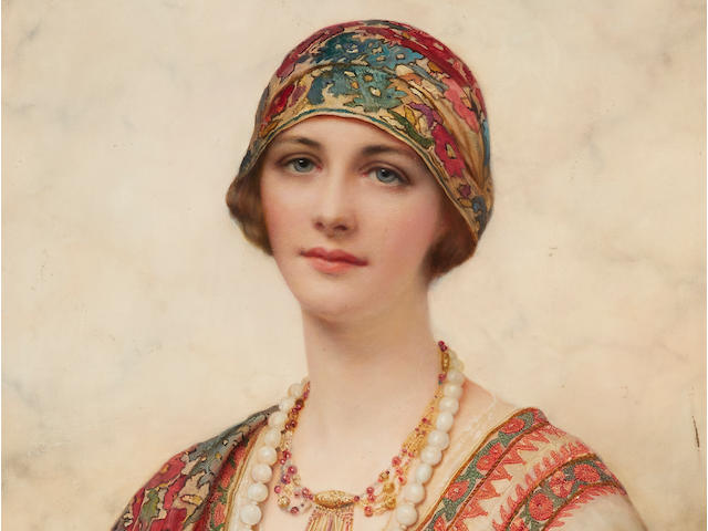 William Clarke Wontner (British, 1857-1930) A portrait of a young woman in Eastern costume 25 x 21in (63.5 x 53.3cm)