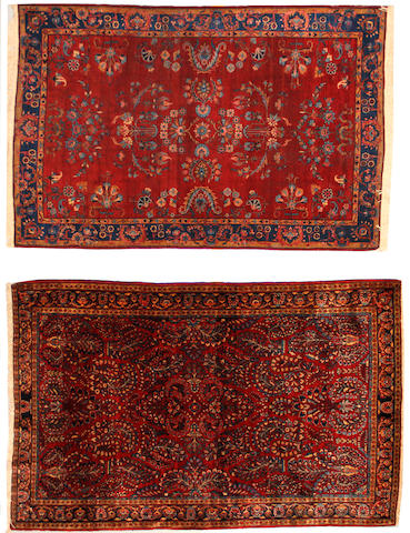 Two Sarouk rugs  sizes approximately 4ft. x 6ft. and 4ft. 2in. x 6ft. 5in.