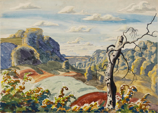 Charles Burchfield (American, 1893-1967) Landscape with Tree 19 1/2 x 27in, image; 20 1/2 x 28in, sheet