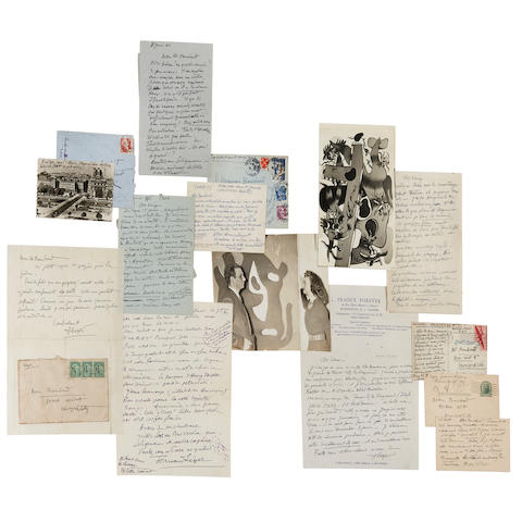 LÉGER, FERNAND. 1881-1955; & THOMAS BOUCHARD. 1895-1984.  Extensive archive of correspondence, manuscripts, photographs, ephemera and ORIGINAL PAINTED CUT-OUTS as filmed with Léger to demonstrate his process of composition.
