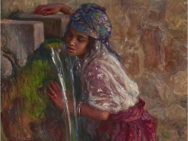 Alphonse Etienne Dinet (French, 1861-1929) Fillette bouvant à la source 25 3/4 x 17 5/8in (65.5 x 44.8cm)