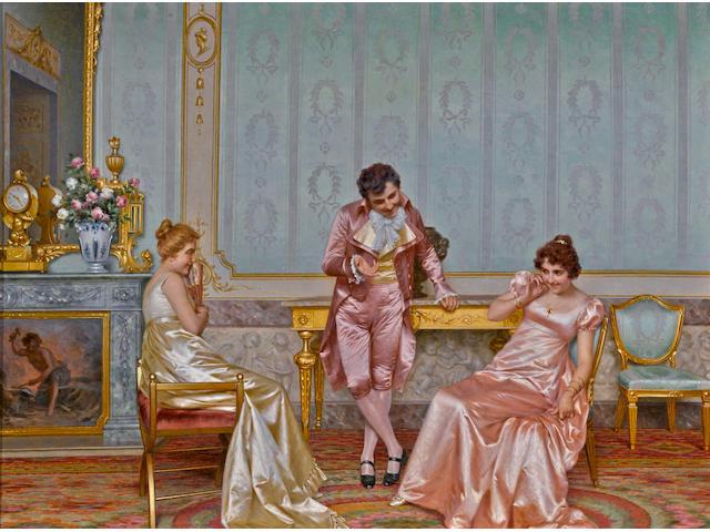 Vittorio Reggianini (Italian, 1858-1939) A humorous tale 24 x 29in (61 x 73.6cm)