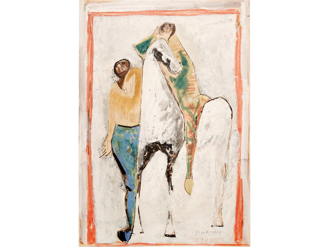 MARINO MARINI (1901-1980) Cavallo e due cavalieri  24 1/2 x 16 7/8 in (62.2 x 43.1 cm) (Painted in 1951. )