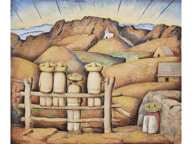 ALFREDO RAMOS MARTÍNEZ (1871-1946) La puesta del sol 22 1/2 x 27 3/8 in (57.2 x 69.5 cm)