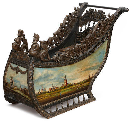 A Continental paint decorated oak child's sleigh fourth quarter 19th century